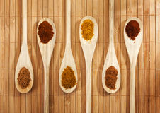 Six spices on wooden spoons Royalty Free Stock Images