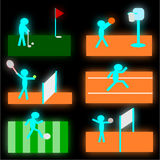 Six Sports Symbol Set Illustration Stock Photos