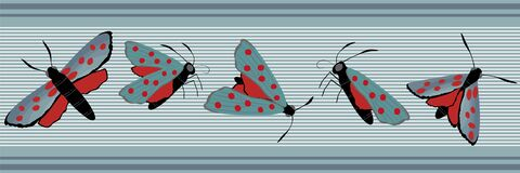 Six spot burnet butterfly seamless vector border. Day flying moth banner on slate blue stripes. Colorful hand drawn