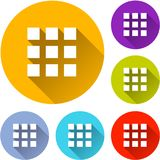 Six squares icons. Illustration of six squares icons with shadow Stock Image