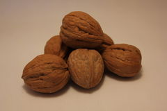 Six stacked walnuts Royalty Free Stock Photography