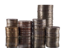 Six stacks of coins Stock Images
