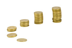 Six stacks of Ukrainian coins Royalty Free Stock Photo