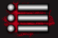 Six stainless steel horizontal  labels on the red smoke background Royalty Free Stock Images