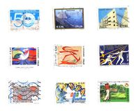 Six stamps of Italy. Miscellaneous of italian stamps background Stock Image