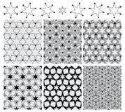 Six star circle symmetry set black seamless pattern Stock Photos
