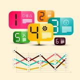 Six Step Infographic Design with Icons. On Colorful Paper Labels and Graph - Vector vector illustration