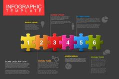 Six steps infographic template with puzzle pieces. Vector puzzle Infographic report template made from colorful jigsaw pieces, icons and description text - dark Stock Photo
