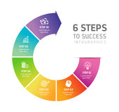 Six Steps Infographics - Success Royalty Free Stock Image