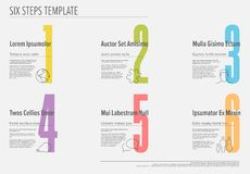 Six steps progress template with nice typography Royalty Free Stock Images