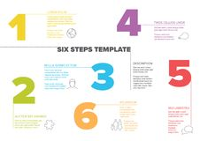 Six steps progress template with nice typography. One two three four five six - vector light progress steps template with descriptions and icons vector illustration