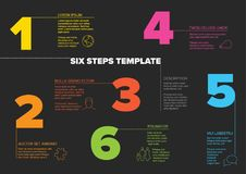 Six steps progress template with nice typography. One two three four five six - vector light progress steps template with descriptions and icons - dark version Stock Photography