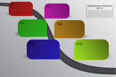 Six steps timeline infographics with 3D rectangle objects in vari stock illustration