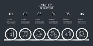 Six steps timeline infographics. For illustrate a strategy, workflow or team work, minimal style, vector illustration Royalty Free Stock Image