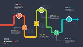 Six steps timeline or milestone infographic chart. Stock Images