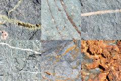 Six stones patterns and textures Royalty Free Stock Photo