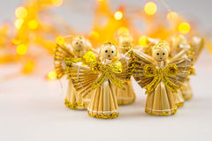 Six straw christmas angels on white background Royalty Free Stock Photo