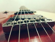 Six string. Red guitar, taken by galaxy A5 Stock Image
