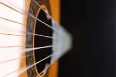 Six strings classic guitar. A close up of a classic guitar top view Stock Images
