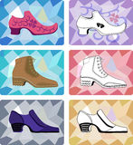 Six stylish man shoes isolated on faceted backgrou Royalty Free Stock Photography