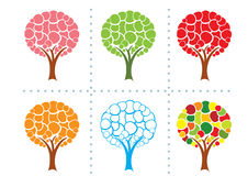 Six stylized trees Stock Image