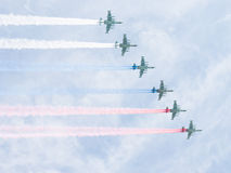 Six Su-25 draw Russian flag in the sky Royalty Free Stock Photo