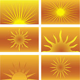 Six Sun Illustrations. Six orange and yellow sun illustrations Royalty Free Stock Images