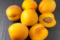 Six sun sweet apricots, one halved with stone. Prunus. Royalty Free Stock Images