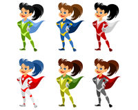 Six superhero girls Royalty Free Stock Photography
