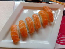 Six sushi Images libres de droits