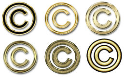 Six symboles de copyright d'or Image libre de droits