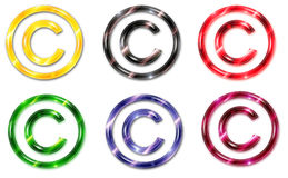 Six symboles de copyright de couleur en verre Photographie stock libre de droits