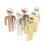 Six symbolic human figures as hierarchy metaphor Royalty Free Stock Images