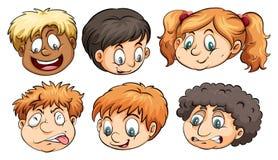 Six têtes avec différentes émotions Images stock