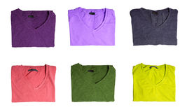 Six t-shirts of different colors Royalty Free Stock Images
