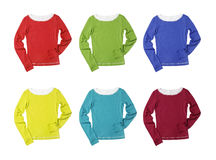 Six t-shirts in different colours isolated on whit Royalty Free Stock Image