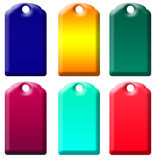 Six tagss of gradient colors isolated. Sic tags of colored gradients ready for design isolated over a white background royalty free illustration