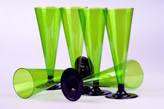 Six tall wine glasses. Four non-permanent green tall wine glasses Royalty Free Stock Photography