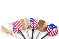 Six target playing darts, whit USA flag colors and golden feather,  Royalty Free Stock Image