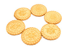 Six tasty cookies. On white background closeup Stock Images