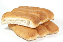 Six Tasty Oven Baked White Bread Rolls Stock Photo