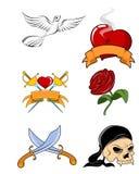 Six tattoo set Stock Image