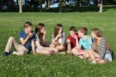 Six Teens Eating Food stock photography