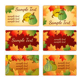 Six templates and cards with pumpkins and leaves Royalty Free Stock Image