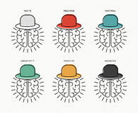 Six thinking hats concept design with human brains Stock Images