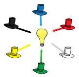 Six thinking hats. Illustration of a six hats stock illustration