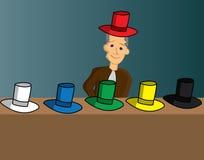 Six thinking hats. Illustration of a six hats royalty free illustration