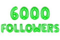 Six thousand followers, green color Stock Photos