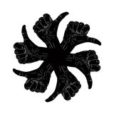Six thumb up hand signs in round abstract symbol, black and whit Royalty Free Stock Image