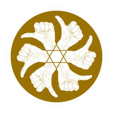 Six thumb up hand signs in round abstract symbol with hexagonal Royalty Free Stock Image